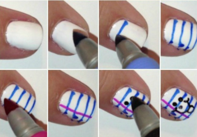 8 steps to create back to school nails collage - each of the 8 steps shown in pictures from painting nails white to drawing blue lines to adding pink to making doodles on the notebook paper nail art