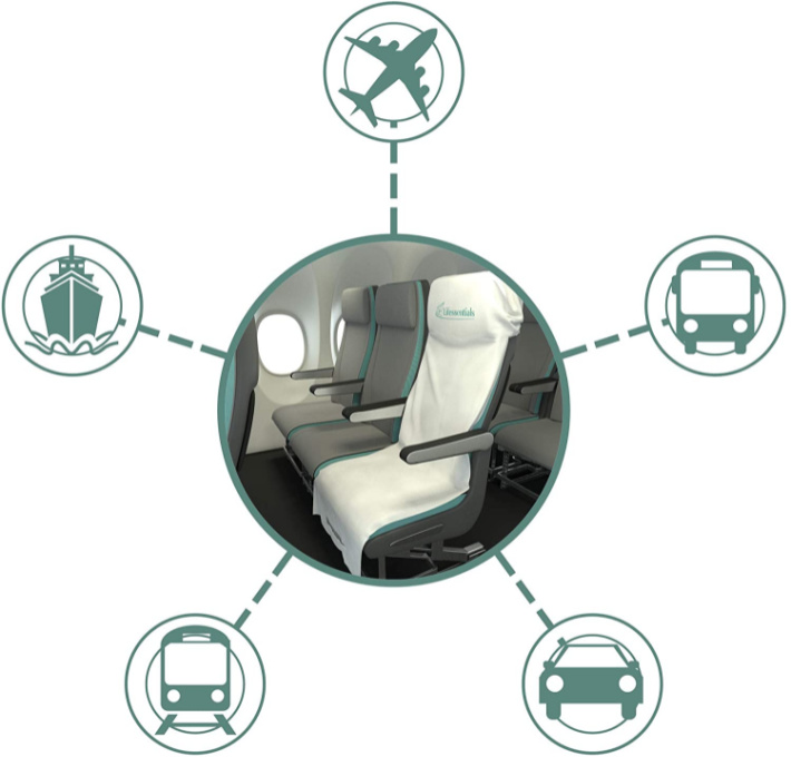 Airplane seat cover can be used in other vehicles image from amazon