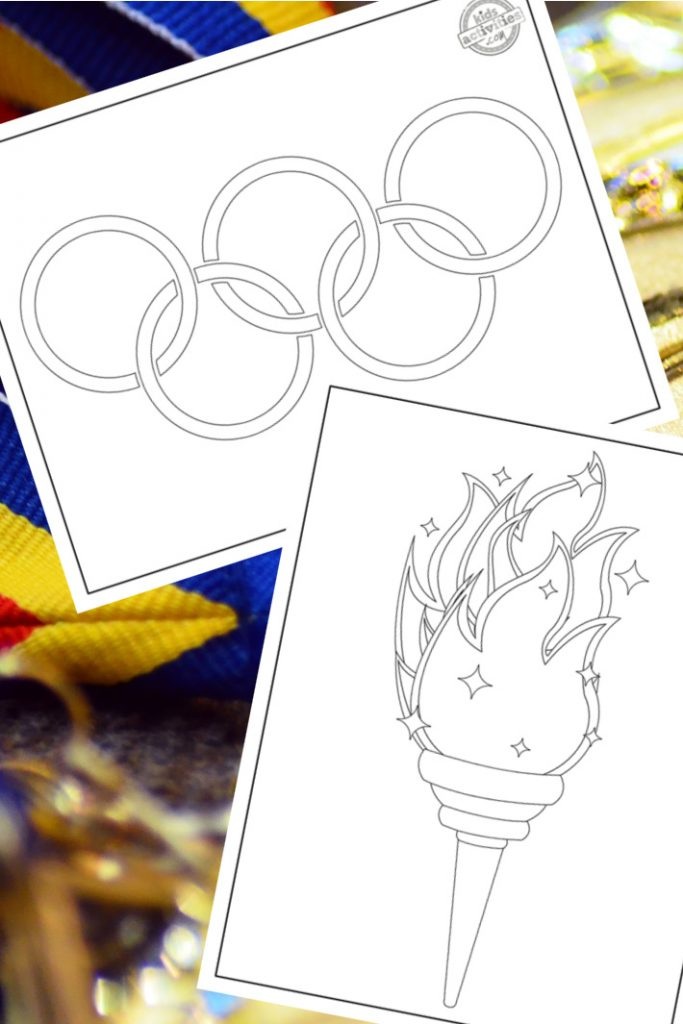 Olympics Coloring Pages for Kids - pdf versions of printable Olympic coloring pages shown with olympic ring coloring page and olympic flame or olympic torch coloring page from Kids Activities Blog