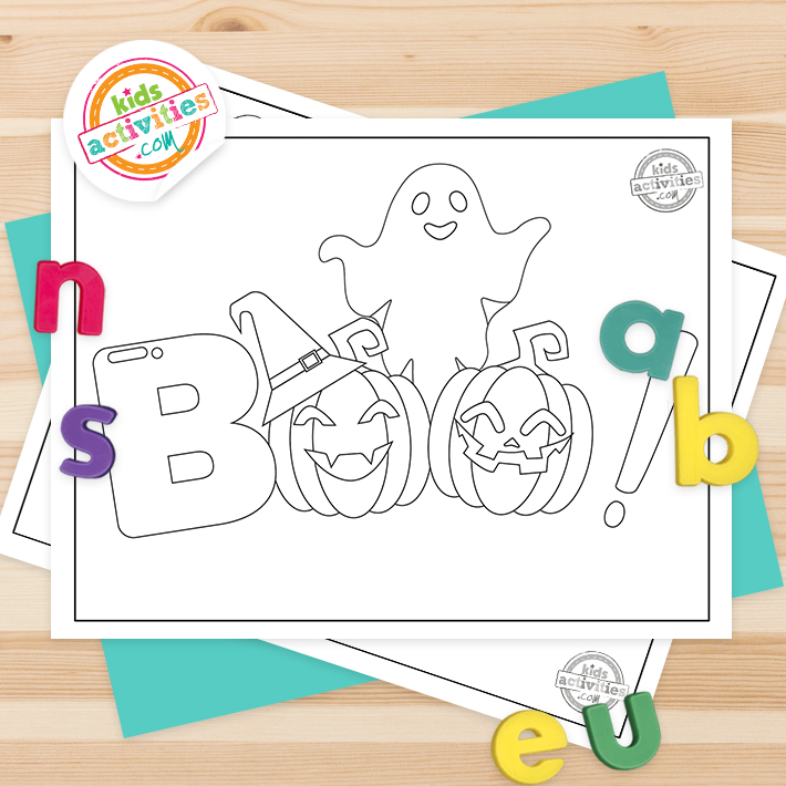 Boo Coloring Pages Square