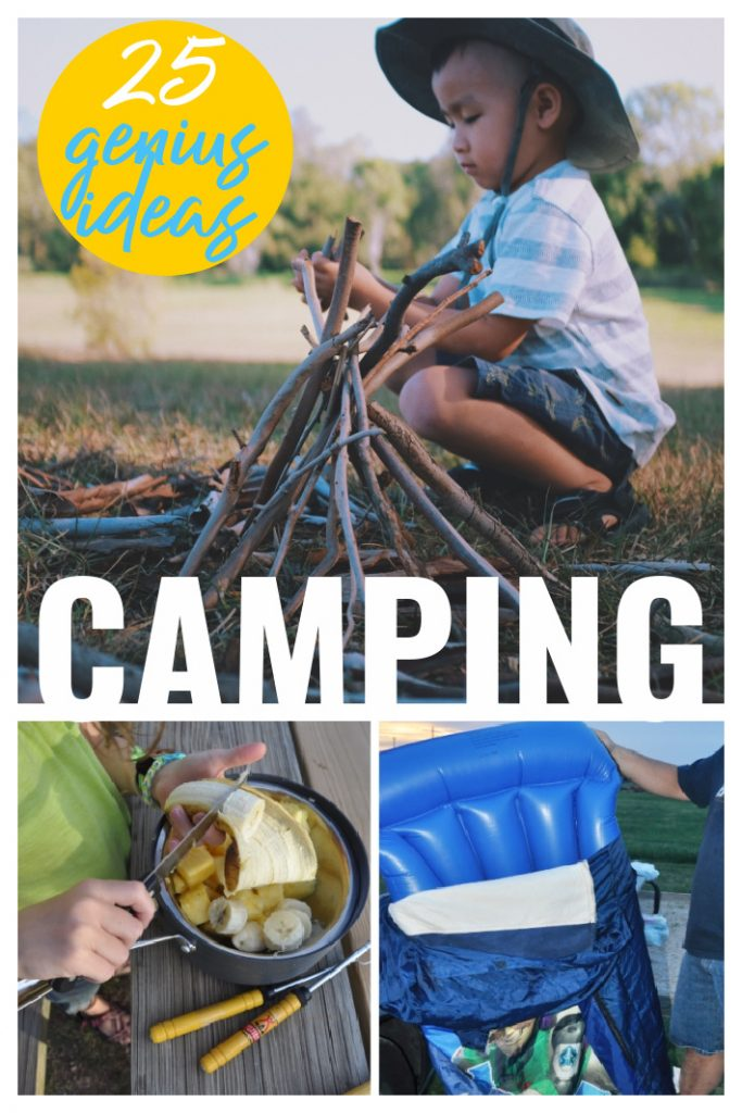 25 Genius ideas for camping with kids - child in front of a campfire, child making campfire food and a mattress