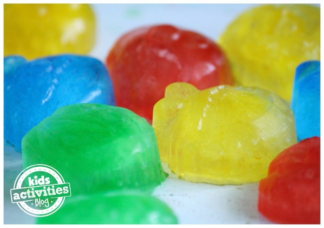 Colored Water Ice Cubes frozen in ice trays - Kids Activities Blog