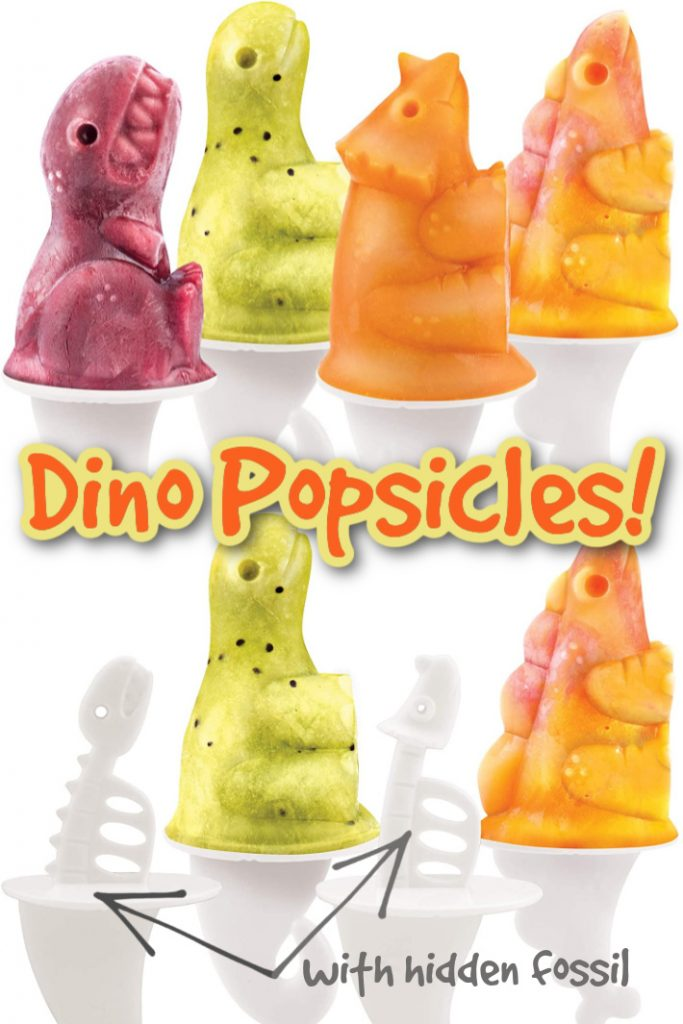 Dino Popsicle Molds with Hidden Fossils - Kids Activities Blog - 8 homemade popsicles shown in different colors with 2 popsicle stick fossils