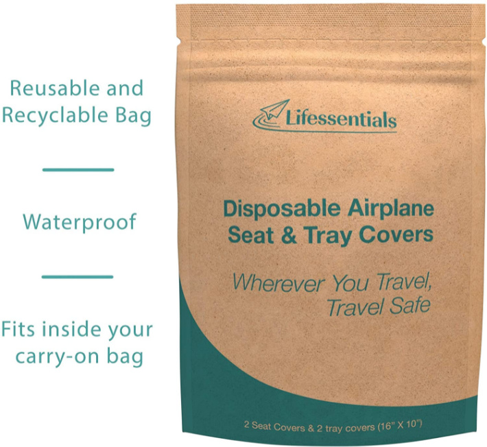 Disposable Airline Seat and Tray covers packaging from Amazon