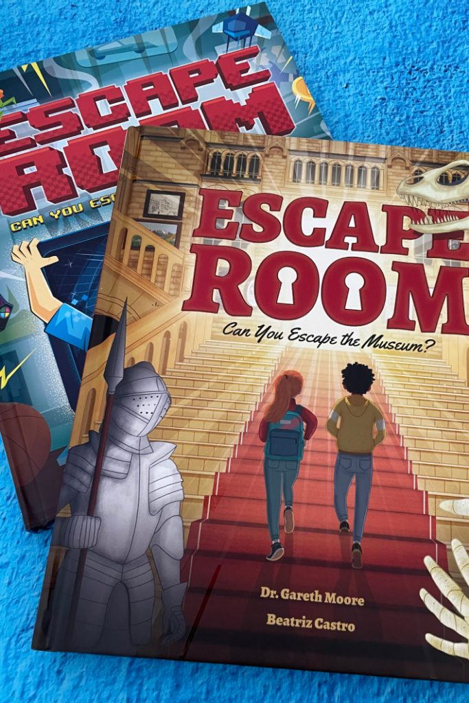 Escape Room Books for Kids Escape the Video Game and Escape the Museum - two books shown on blue background