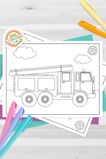 Fire Truck Coloring Pages Feature Image