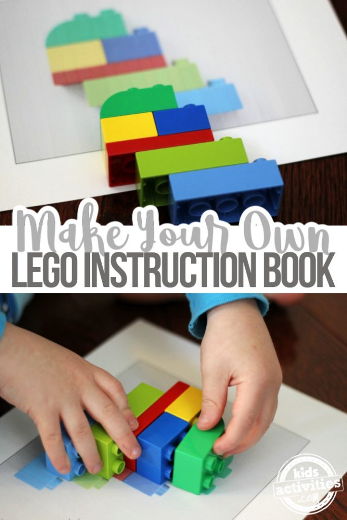 Homemade LEGO puzzle book or create your own lego brick building instructions plan book for your own LEGO creations - shown is the pdf version of a lego plan and the bricks used in the build.  Kids Activities Blog