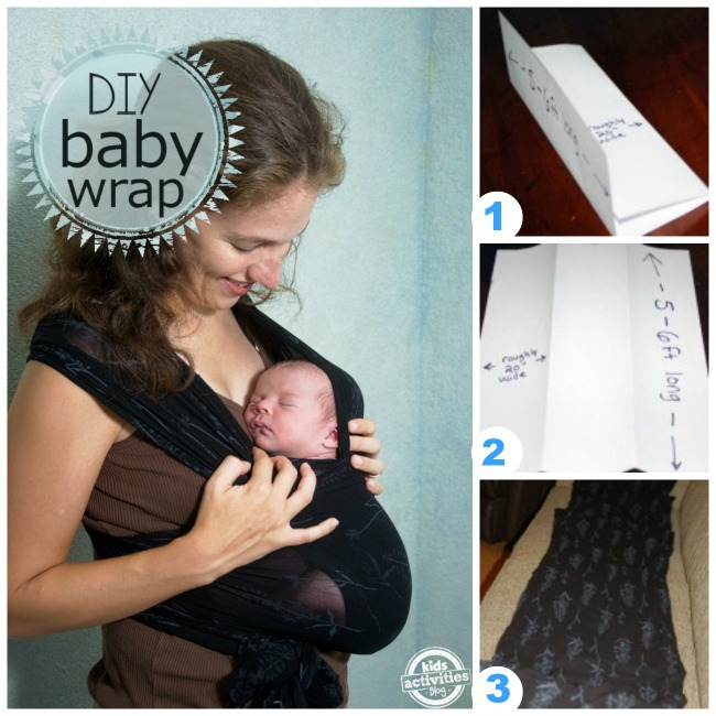 Steps pictured to make your own baby wrap sling out of interlock fabric  - Kids Activities Blog