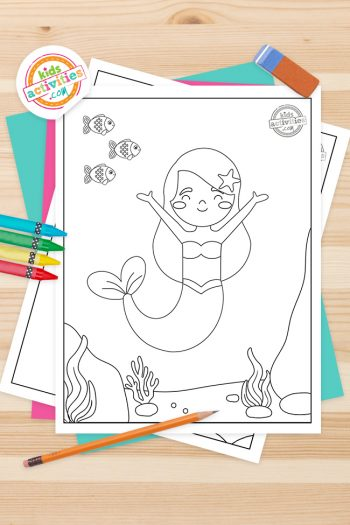 Mermaid Coloring Pages Feature Image