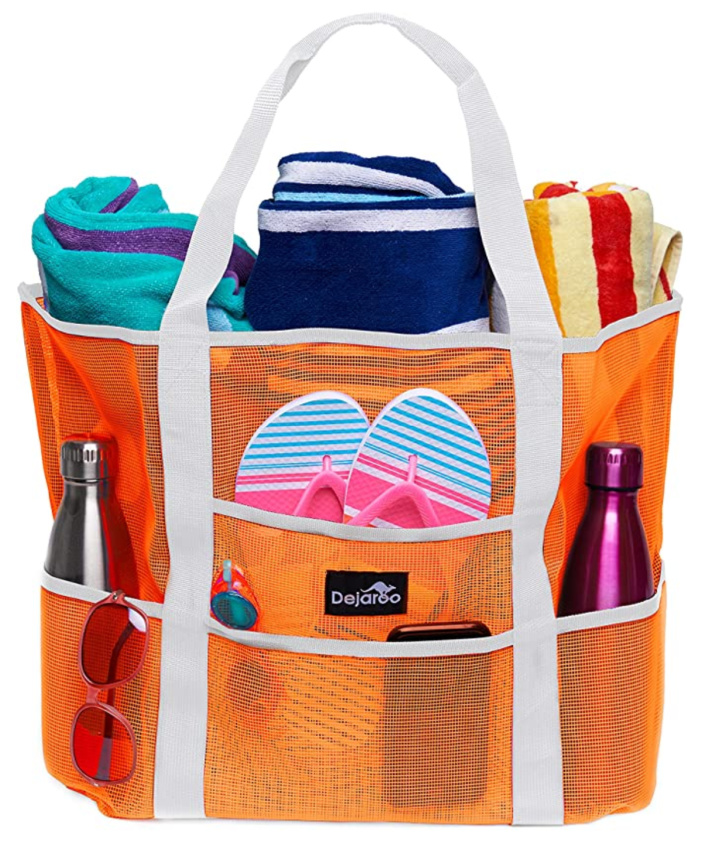 Pool mesh tote with multiple pockets for phones, towels, flip flops, water bottle and more