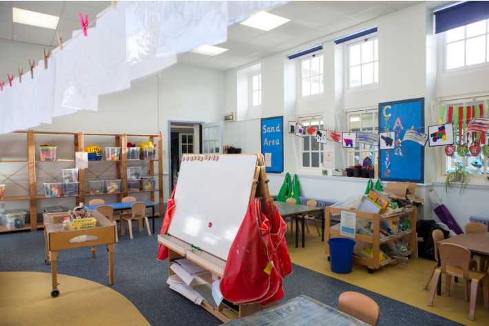 Organized Classroom with plastic bins and art station - Kids Activities Blog