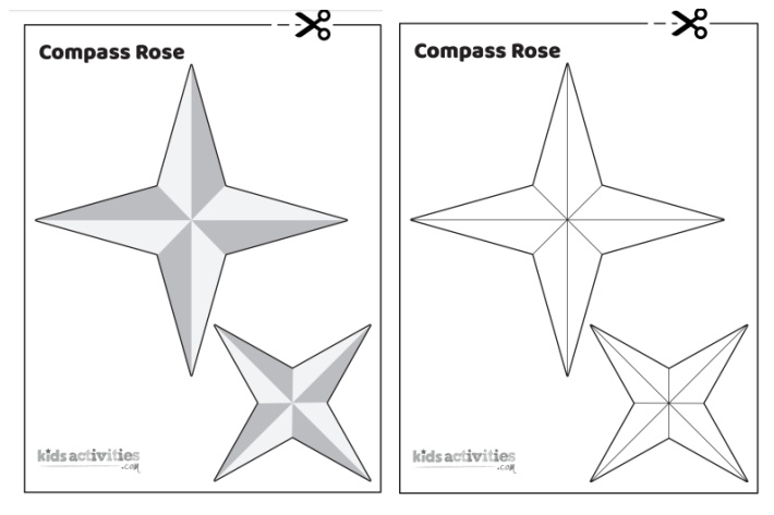 Printable Compass Rose Template from Kids Activities Blog to use as a template to make your own compass rose