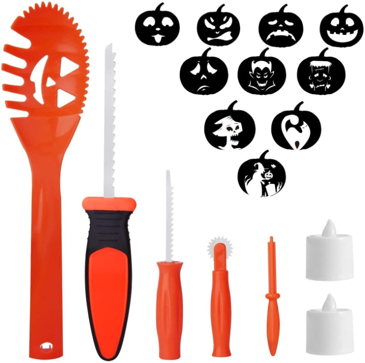 Pumpkin carving kit with stencil roller from Amazon