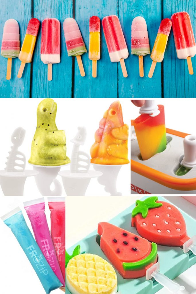 Quick Pop Makers Traditional Popsicles and More- Kids Activities Blog - 5 images shown of traditional popsicles, dinosaur popsicles, zoku quick pop maker, ice pop molds and shaped popsicle molds