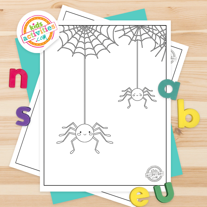 Spider Coloring Pages Square