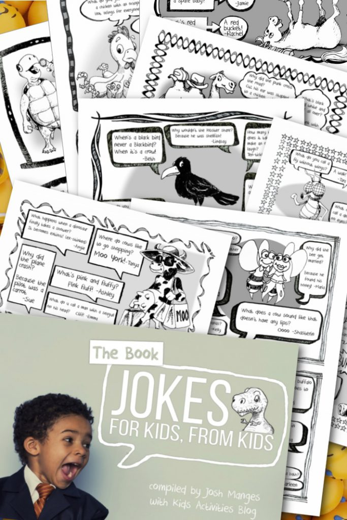 The book of jokes for kids from kids compiled by Josh Manges with Kids Activities Blog - cover of funny jokes for kids ebook and a selection of the 50 printable joke ebook pages pdf shown over lol emojis