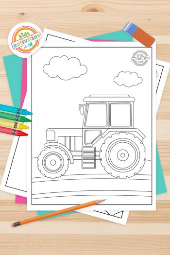 Tractor Coloring Pages Feature Image