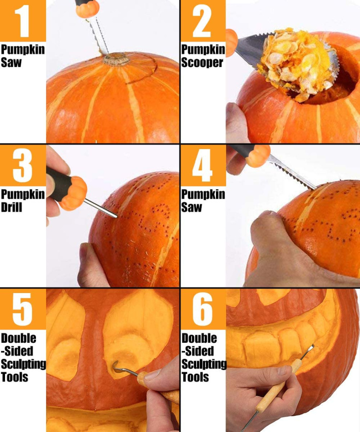What tools to use in which step when carving a pumpkin - image from amazon
