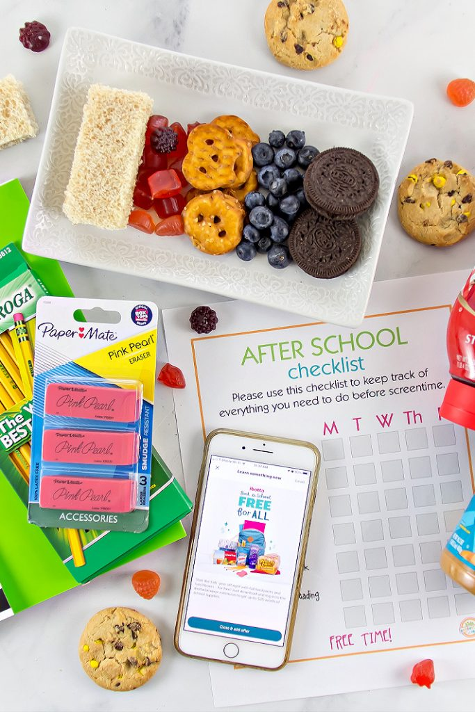 free school supplies with an after school checklist and snack ideas