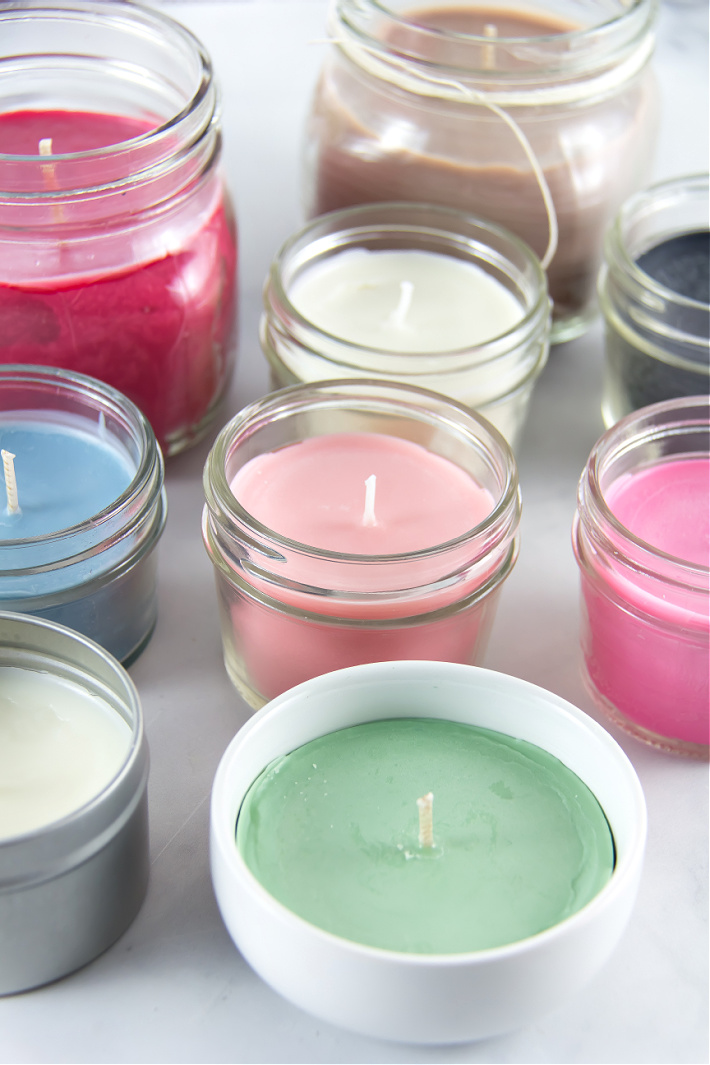 Homemade colored candles made with soy wax flakes and crayons.