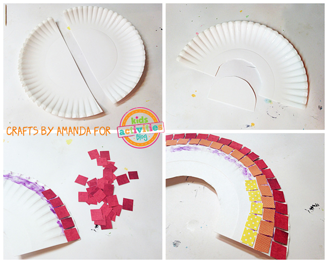 Collage pictures of the four steps to create the Rainbow mosaic craft with paper plates, scrapbook and colorful paper squares and glue