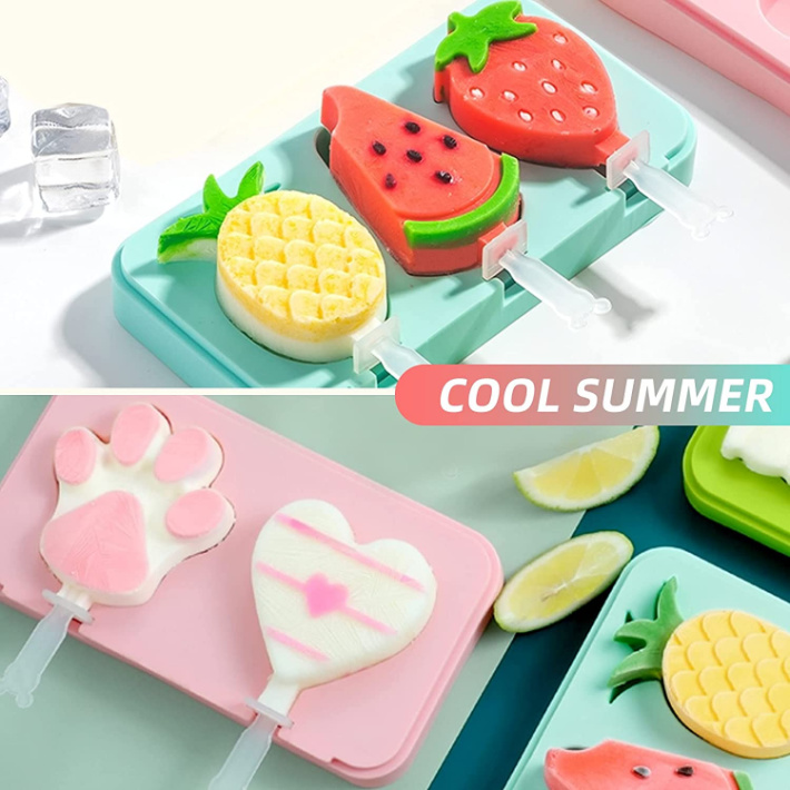 silicone popsicle mold 2 pack watermelon pineapple paw and heart