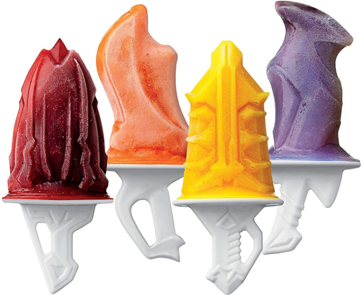 tovolo sword ice pop molds from amazon - four popsicles shown with different sword shapes and colors