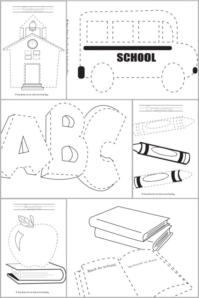 6 free printable school themed trace and color worksheets for preschool and kindergarten - printed pdf files shown in a collage
