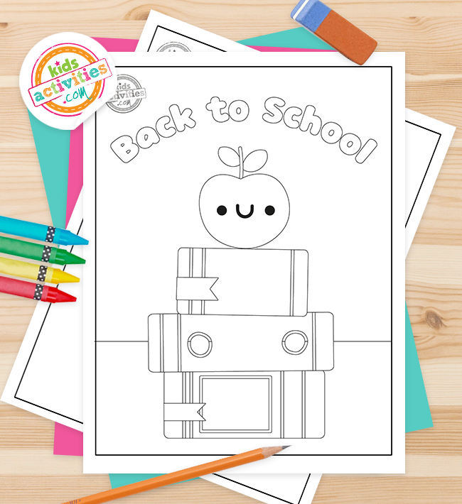 back to school color page pdf shown with apple on the top of a stack of books