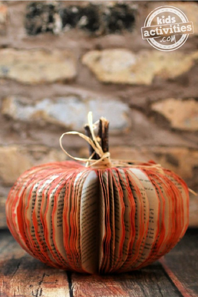 Book Pumpkin Craft for Kids and Adults from Kids Activities Blog