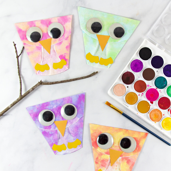 Coffee Filter Owl Crafts from The Big Book of Kids Activities - a series of coffee filter owls shown with a open box of watercolor paint