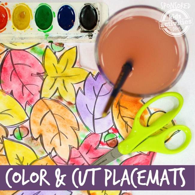 Print color and cut leaf placemat templates for kids crafts shown with water color paint, water and scissors