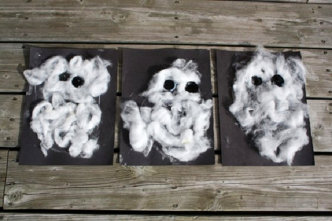 Cotton ball ghost craft for kids - image from Happy Hooligans