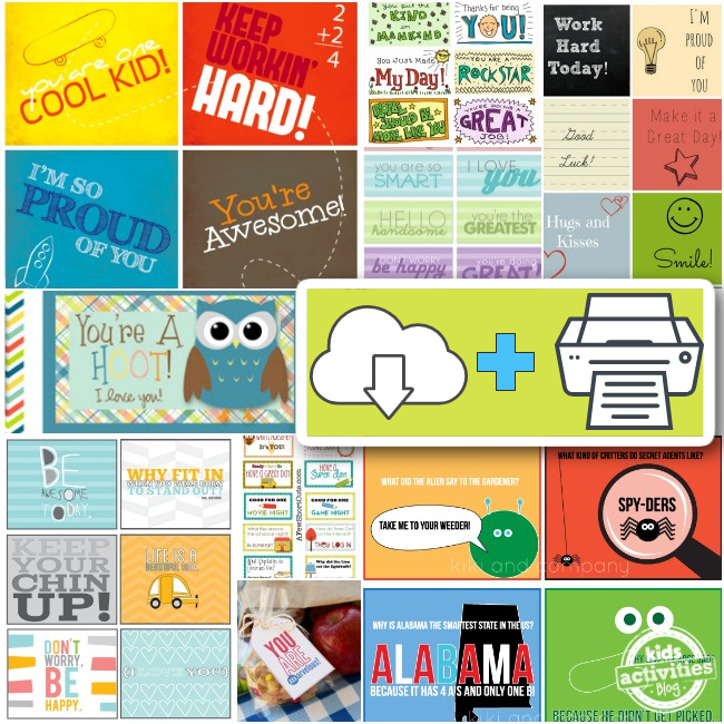 Download and print free printable lunchbox notes for kids - Kids Activities Blog