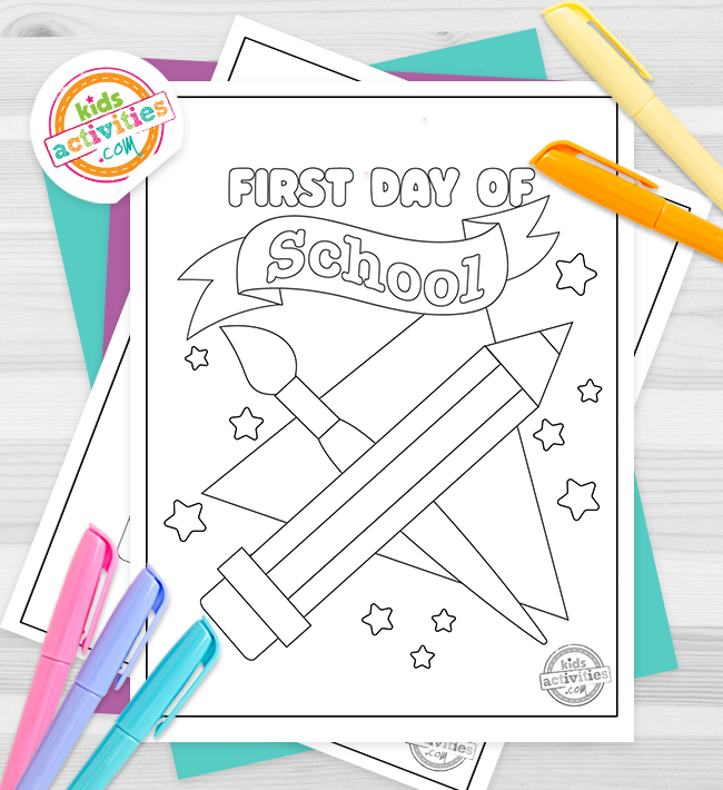 First Day of School coloring pages for kids - printed pdf shown with words first day of school and a pencil and paint brush