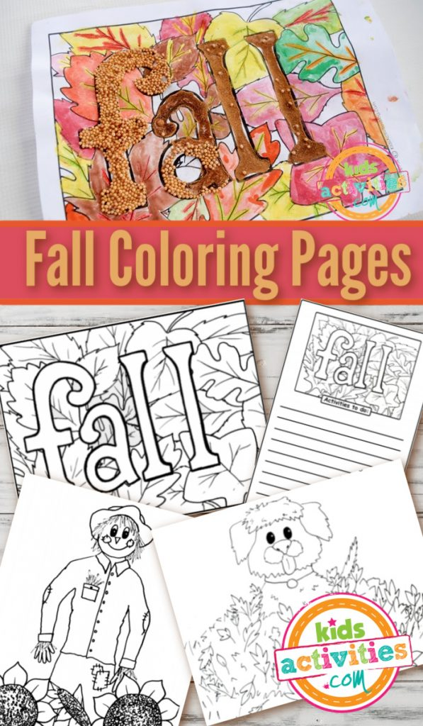 Free printable fall coloring pages for kids - 4 pdf versions shown - Kids Activities Blog
