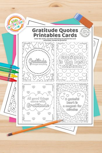 Gratitude Cards Coloring Pages Feature Image