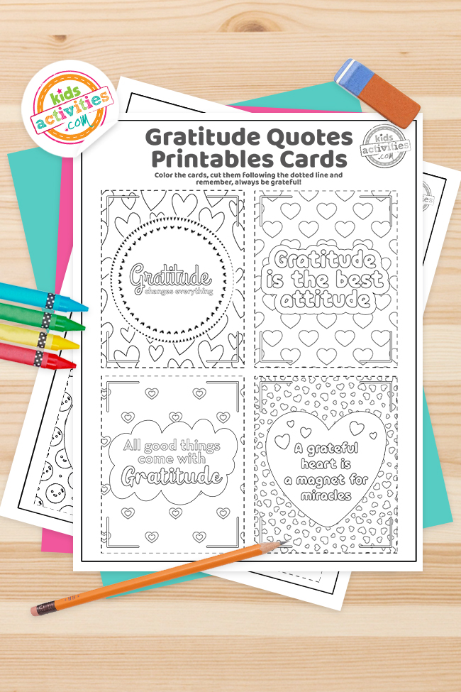 Gratitude Cards For Kids Coloring Pages