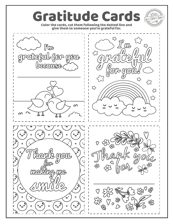 Gratitude Cards Coloring Pages Screenshot 2