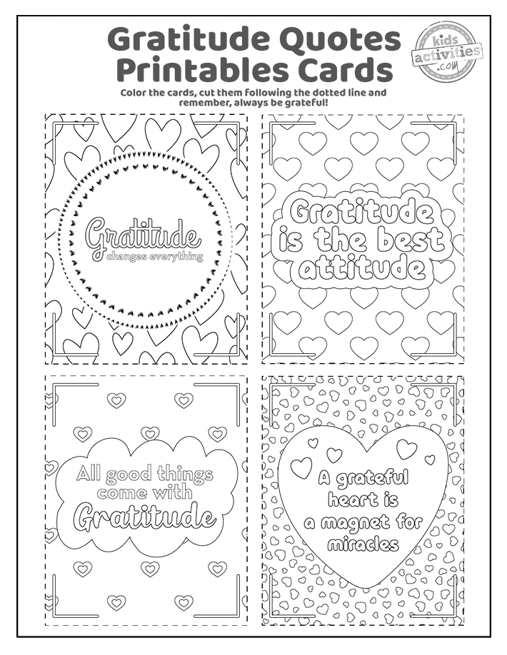 Gratitude Cards Coloring Pages Screenshot