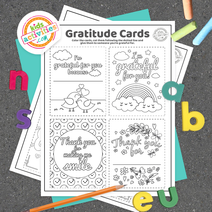 Gratitude Cards Coloring Pages Square