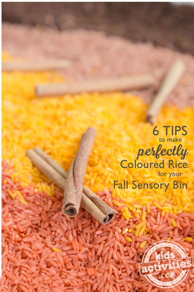 How to dye rice for sensory bins from Kids Activities Blog - shown are coloured rice in lines that are fall colors like brown, orange yellow and pink