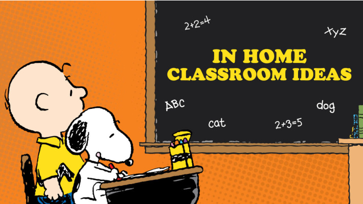 Peanuts In Home Classroom ideas - Charlie Brown and Snoopy sitting at a desk