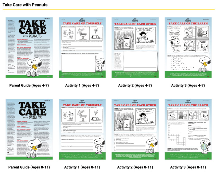 Lesson Plans from Peanuts dot com - Take Care with Peanuts - Screenshot