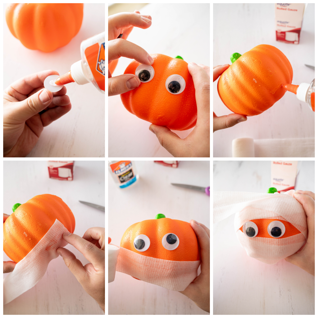 collage of steps to make a no-carve mummy pumpkin