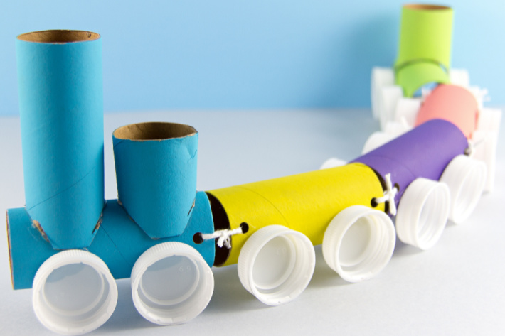 Toilet Paper Roll Train Craft for Kids featured in Big Book of Kids Activities  - paper towel roll train craft from the book
