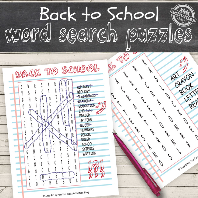 back to school printable word search puzzles that have different levels for different grades returning to the classroom