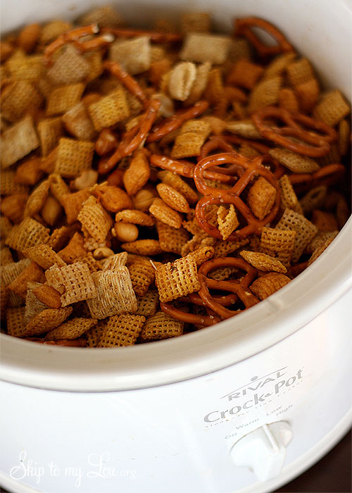 crockpot chex mix recipe from Skip to My Lou