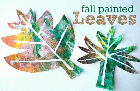 easy fall painted leaf craft for kids using painters tape from No Time for Flashcards