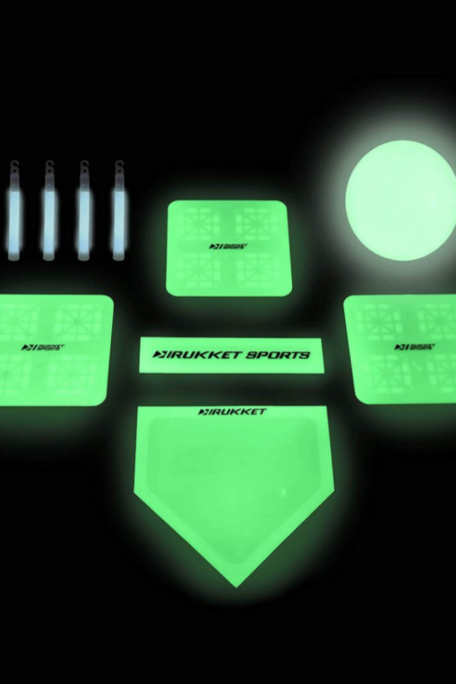 A glow in the dark kick ball set with 4 bases, pitchers mound, 10 inch ball, and led lights.